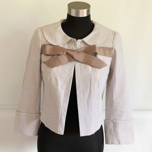 Zara White and Brown Cropped Blazer with Bow Front